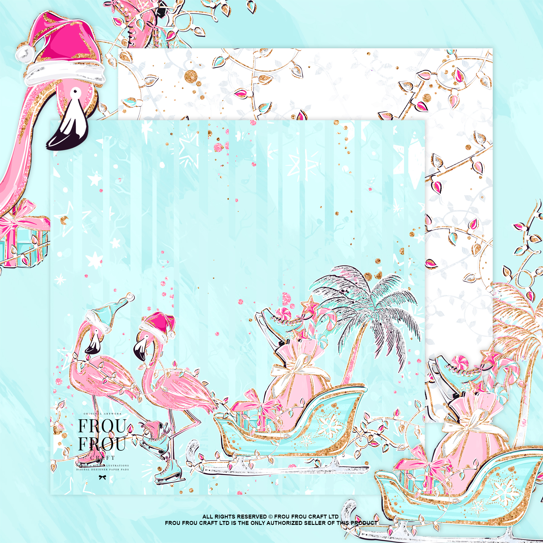 Pink Flamingo Christmas Presents Glitter Paper Pack example image 4