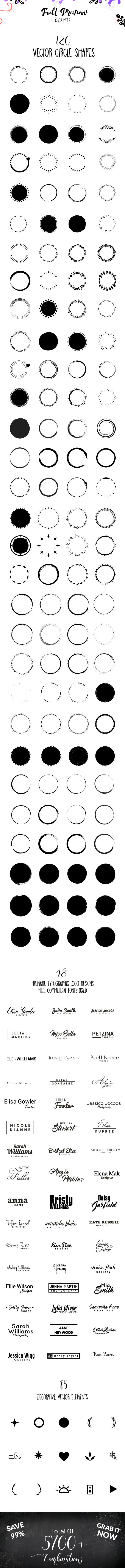 HUGE! Feminine Logo Creator Kit Circle Edition example image 7
