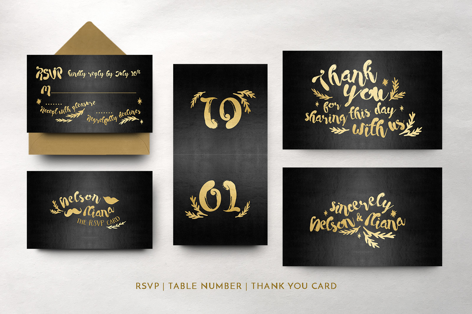 Black & Gold Hipster Wedding Invitation Suite example image 2