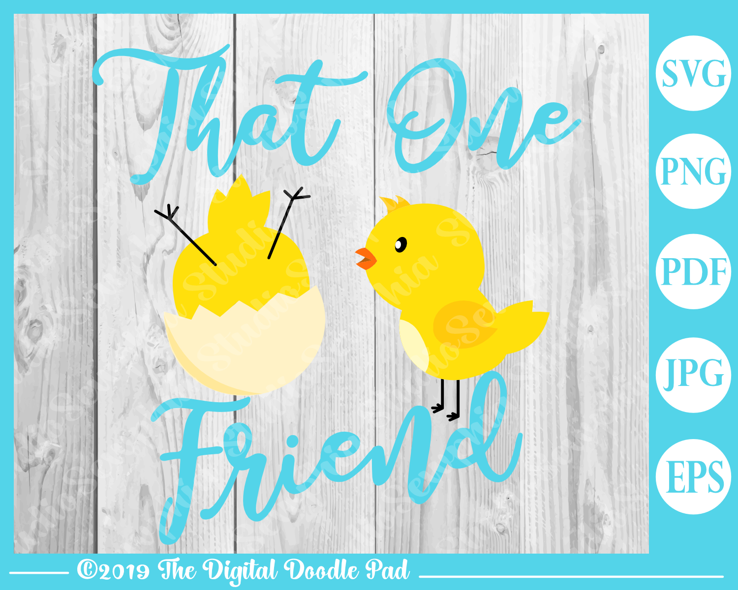 That One Friend Spring Chicks Digital Doodle Pad example image 4