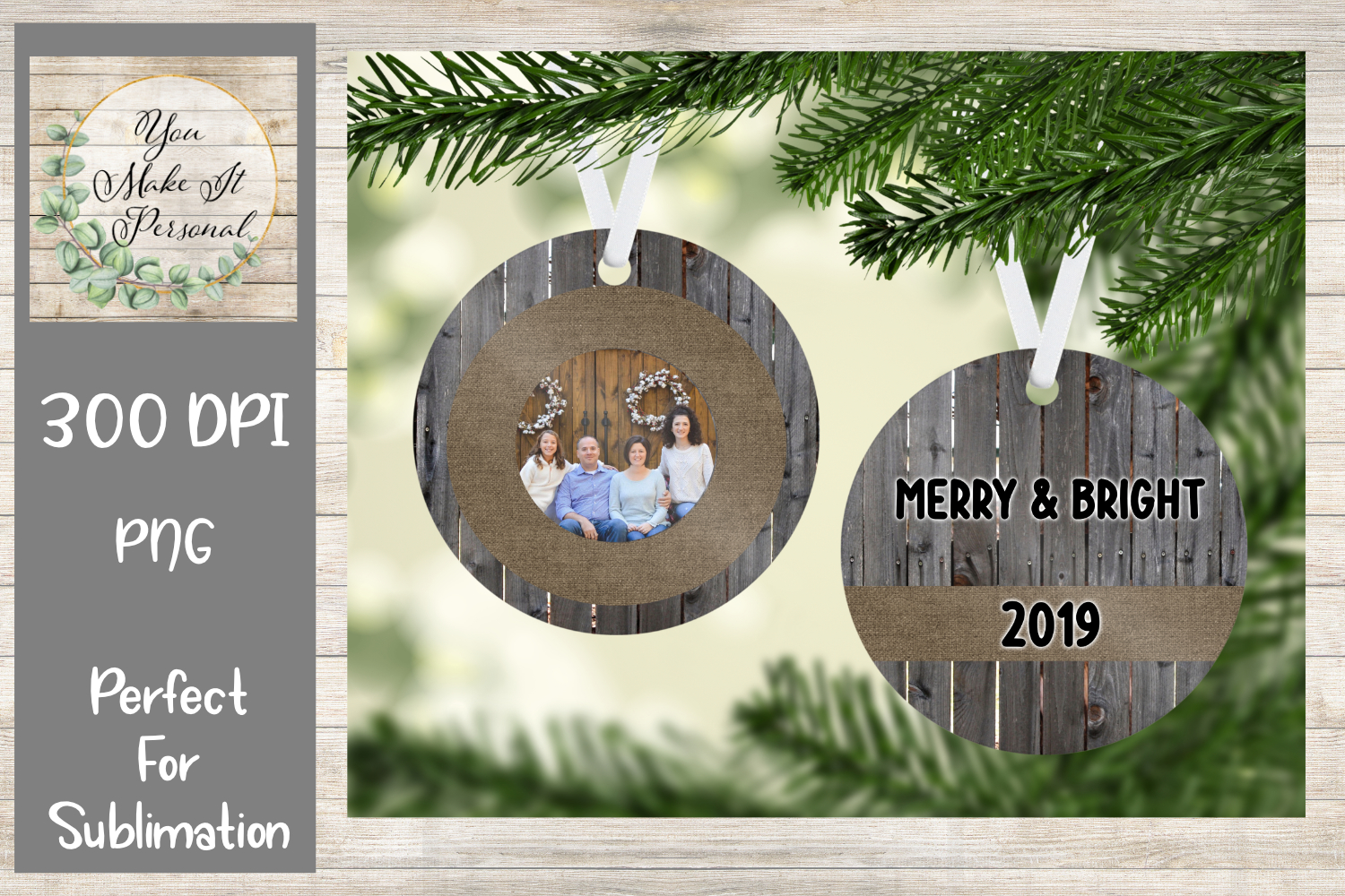 Sublimation Ornament Template - Rustic Wood and Burlap example image 1