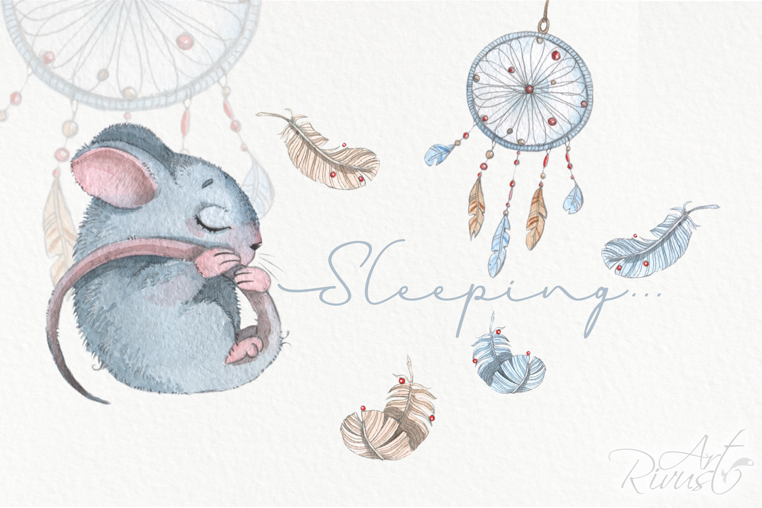 Cute sleeping baby animals watercolor clipart kit example image 4