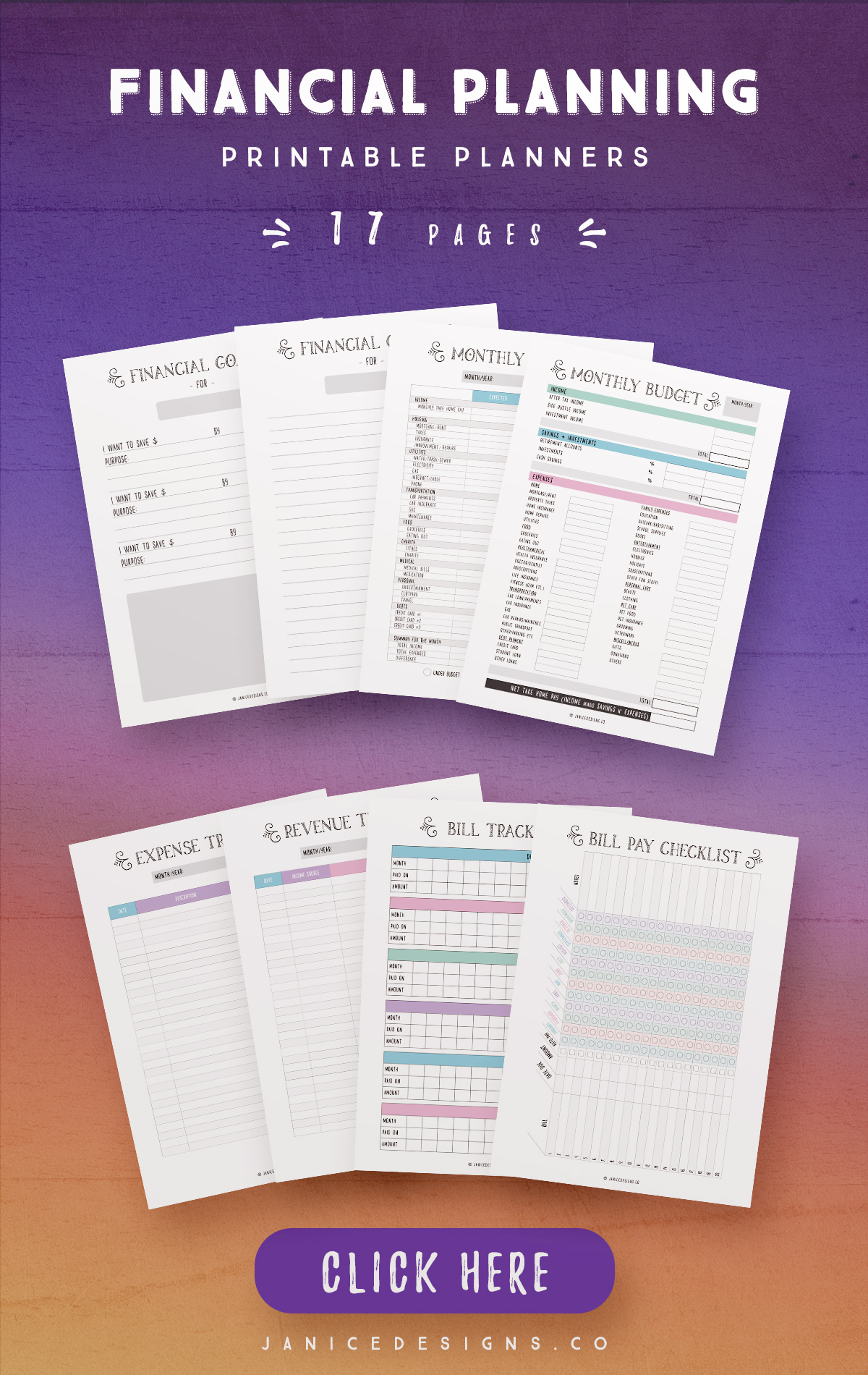 Financial Planning Printables -17 Pages example image 3
