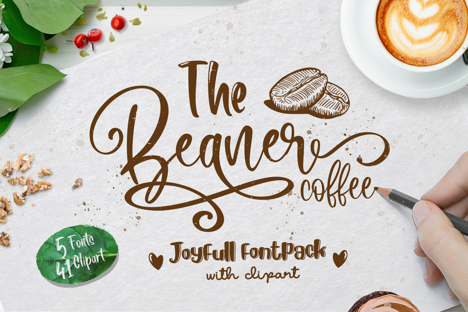 The Beaner - 5 Font & 41 Clipart example image 1