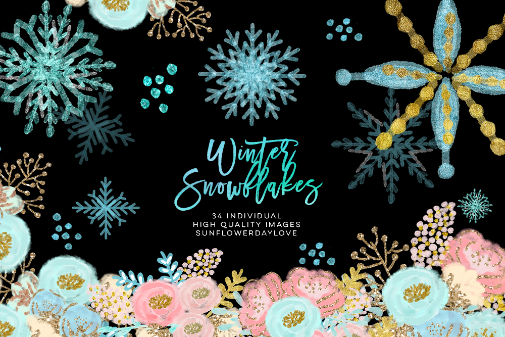 winter wonderland clip art, glitter snowflakes clip art example image 2