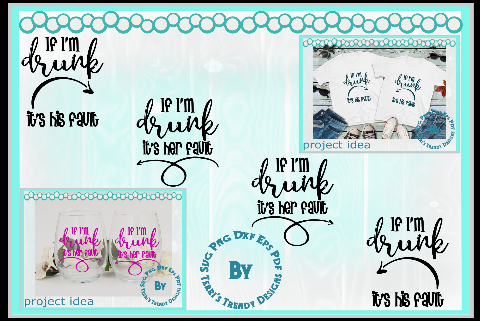 Funny bundle svg If I'm drunk His Her fault Bride Groom crew example image 1