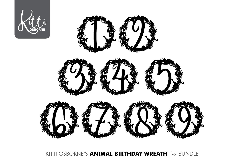 Animal Birthday Wreath 1-9 Bundle example image 3