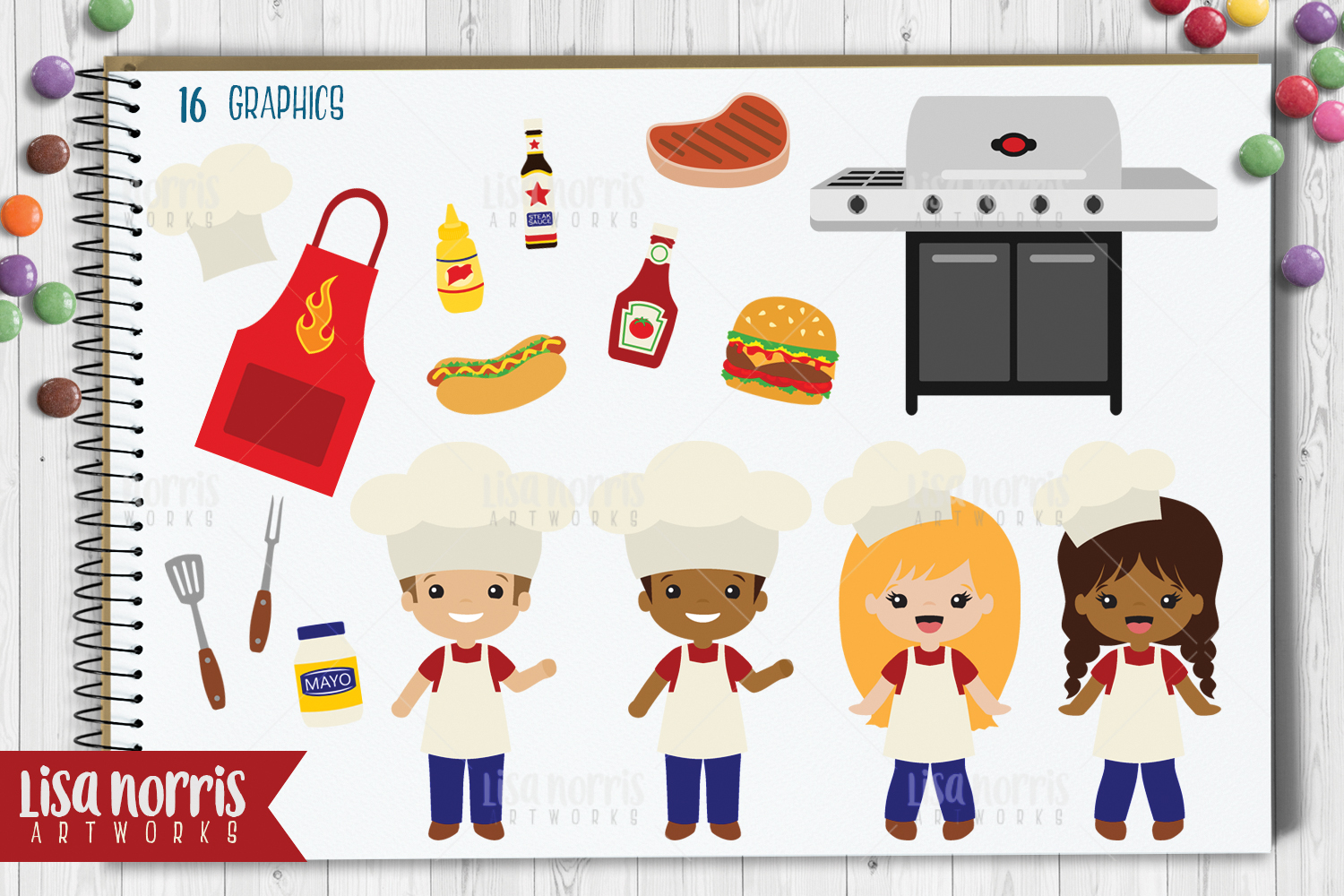 Cookout Clip Art Graphics & SVG Cutting Files example image 2