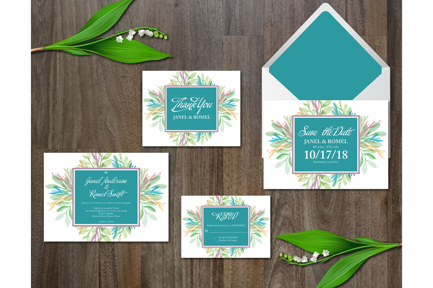 Watercolor Flower Wedding Suite example image 1