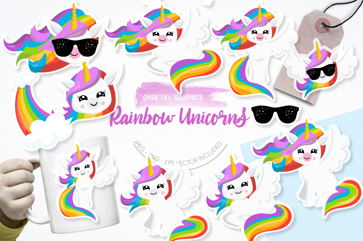 Rainbow Unicorns graphics and illustrations example image 1