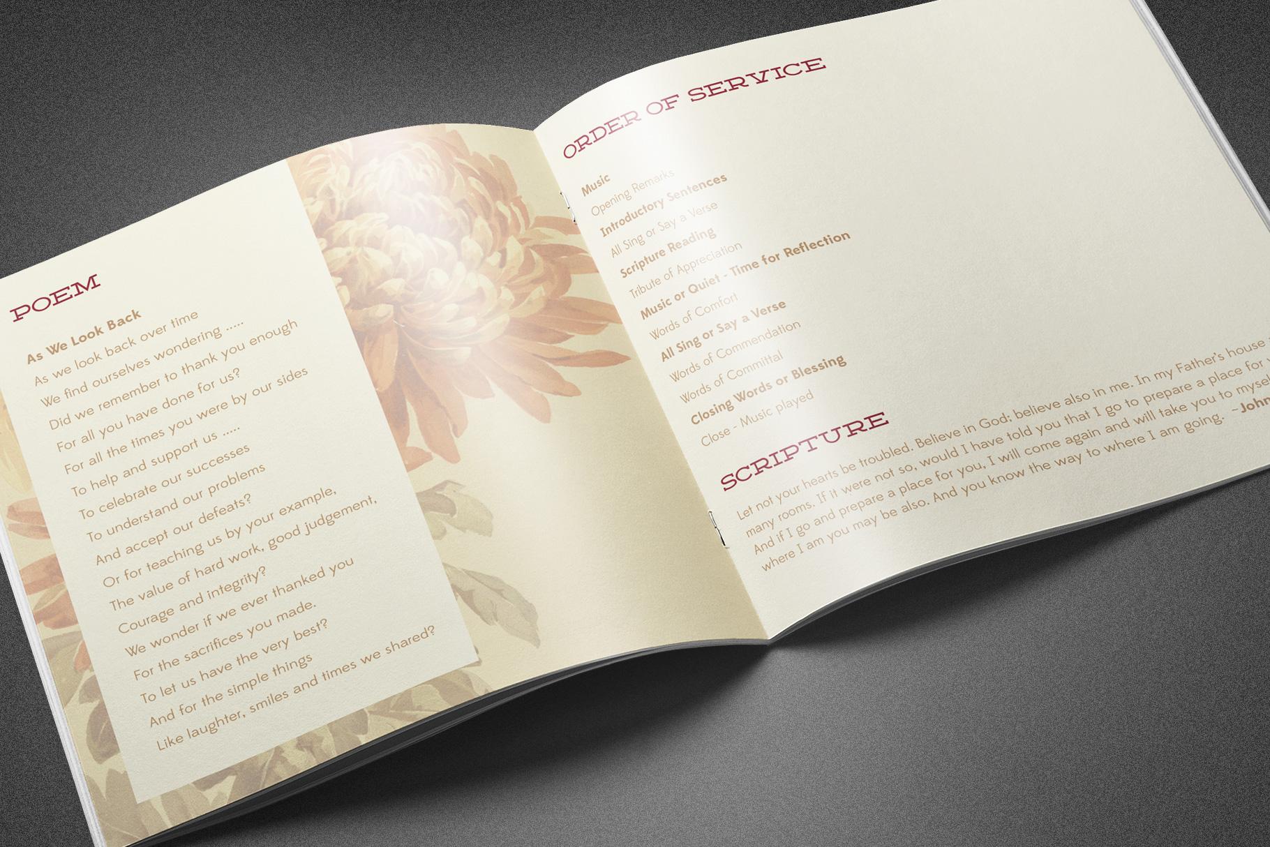 Burgundy Floral Funeral Program example image 4