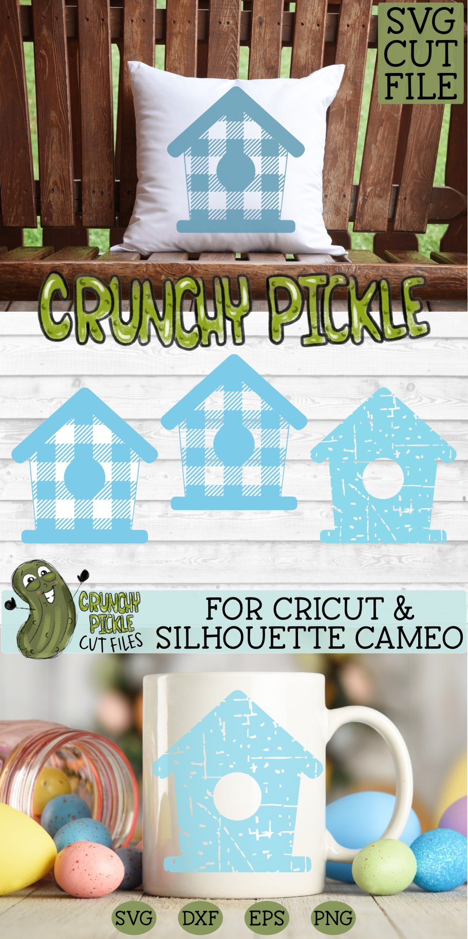 Plaid & Grunge Birdhouse SVG Cut File for Spring or Easter example image 4