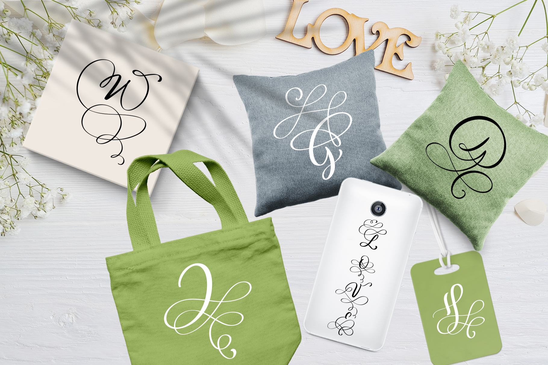 Love Story Monogram Font example image 4