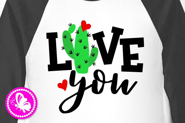Love you svg clip art Valentine's day decor Cactus print example image 1
