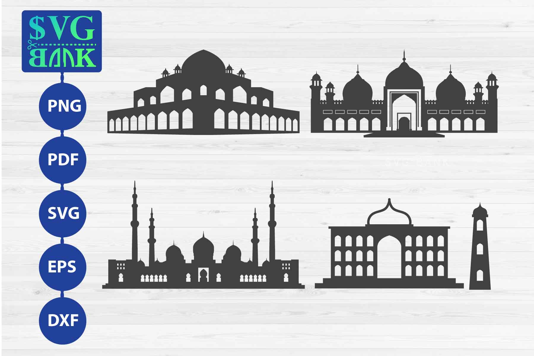 Set of Mosque SVG, Masjid SVG, Masjid silhouette example image 1