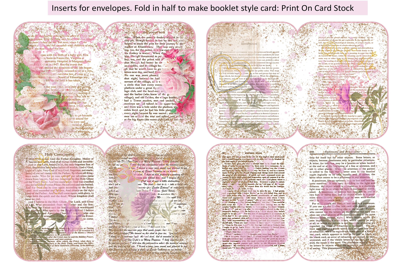 4 Shabby Chic Envelopes with inserts Ephemera example image 3