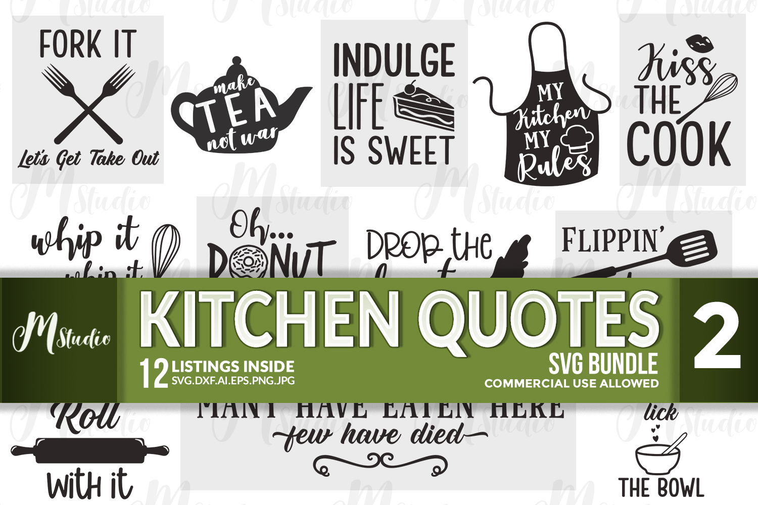 Kitchen quotes svg bundle 2 example image 1