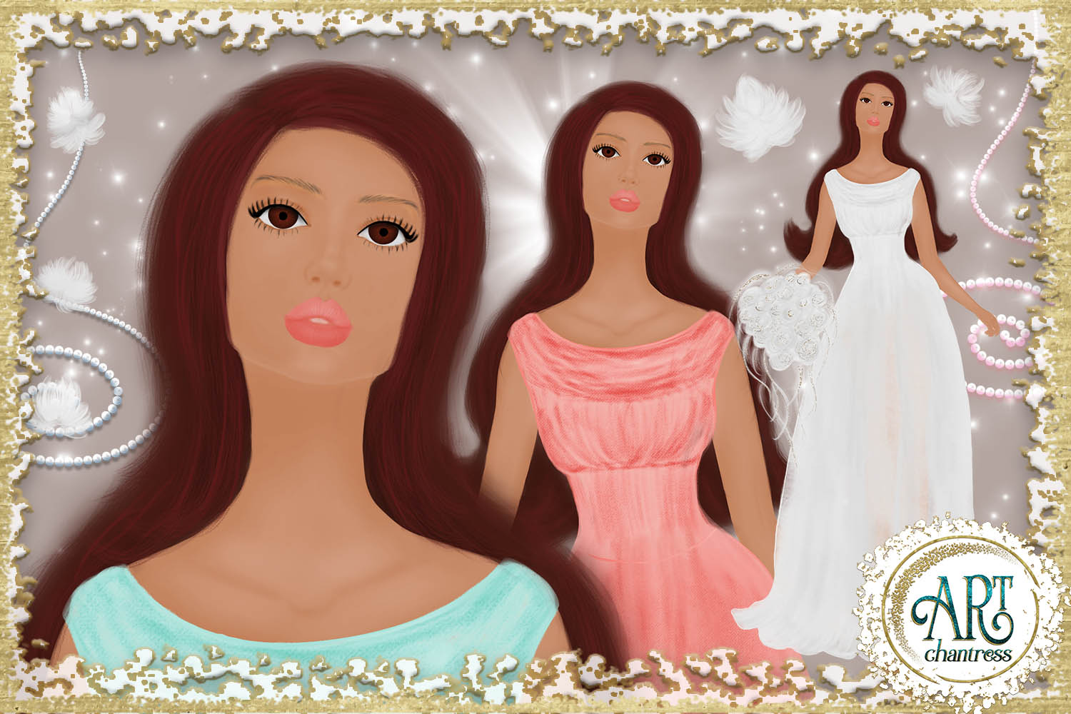 Wedding party, bride clipart in white, coral and teal example image 7