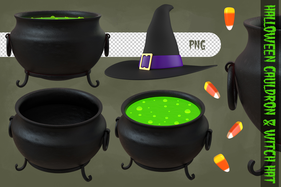 Halloween Cauldron & Witch Hat example image 1