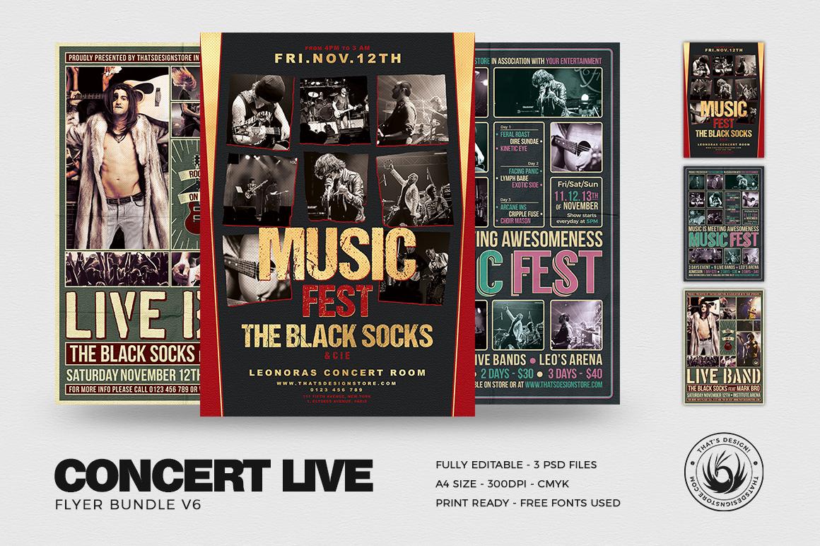 Concert Live Flyer Bundle V6 example image 1