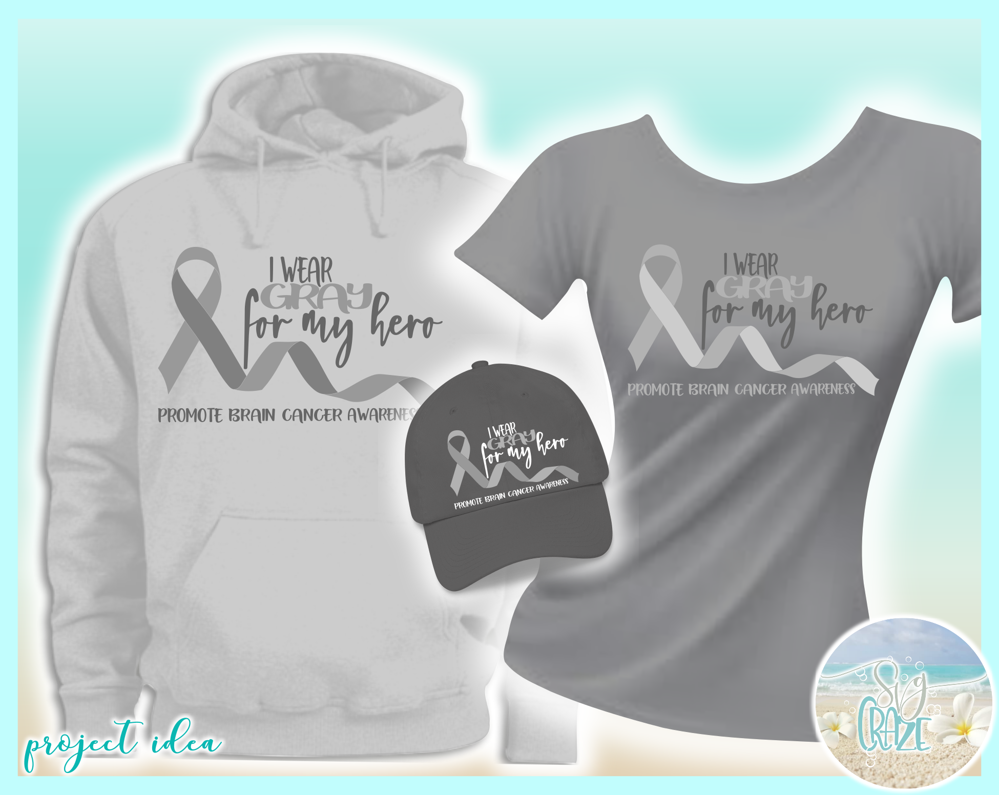 I Wear Gray For My Hero Brain Cancer Ribbon SVG example image 2