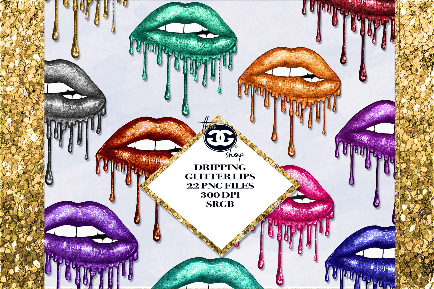 22 Dripping Glitter Lips Cliparts example image 1