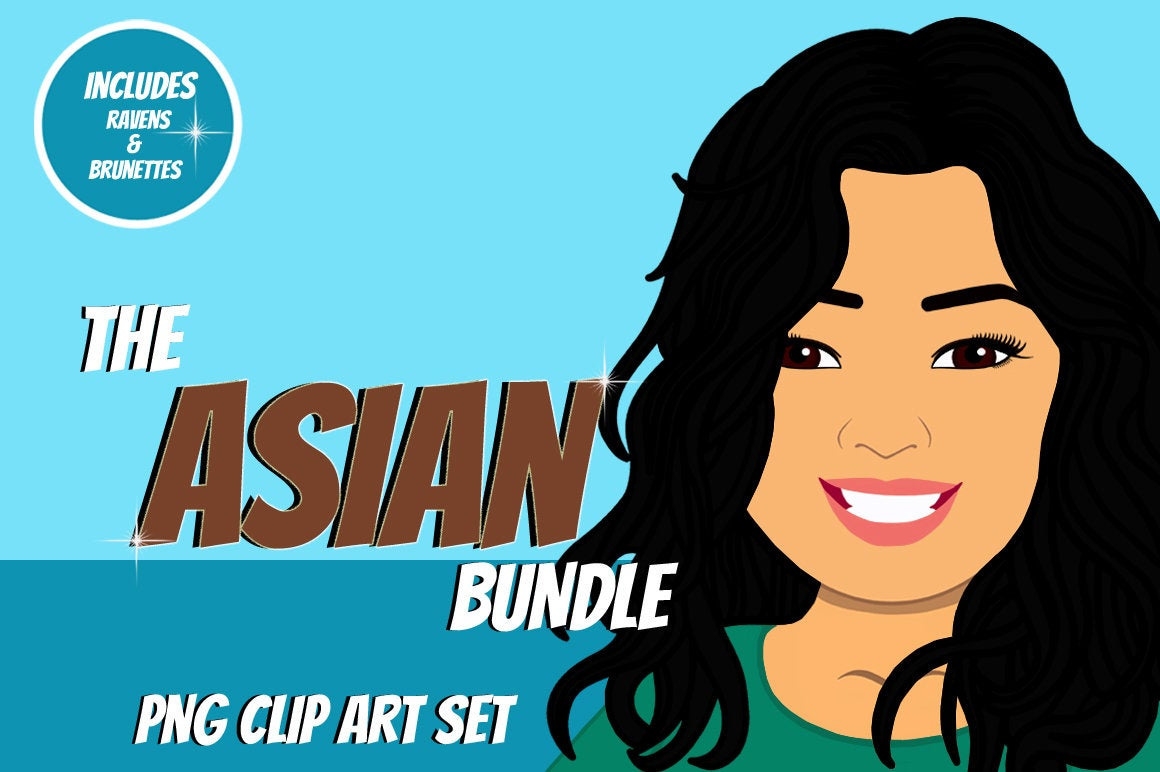 Asian Woman Clip Art Bundle | Female Avatar | Graphic example image 1