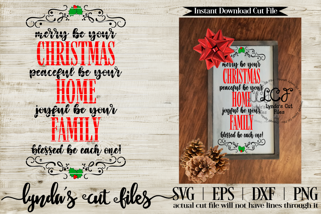 Merry be your Christmas V2/ Christmas//SVG//EPS//DXF example image 1