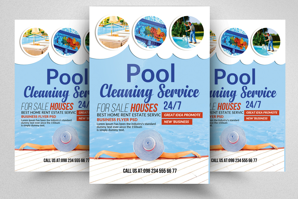 Swimming pool cleaning service flyer for Pool design templates