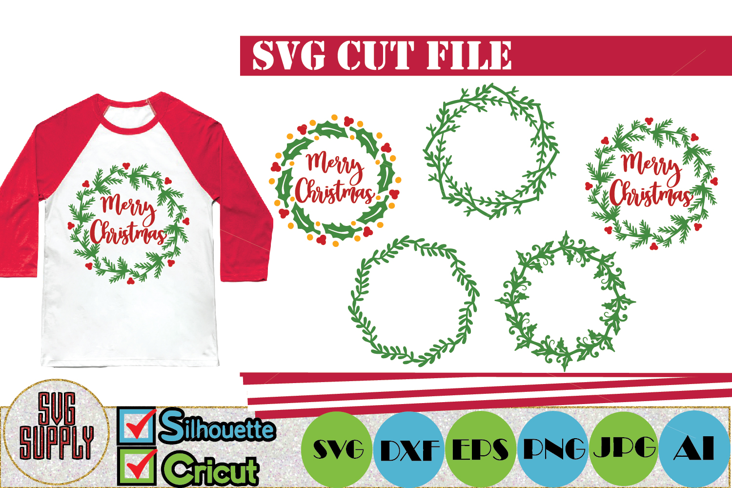 Christmas Wreath Set SVG Cut File example image 1