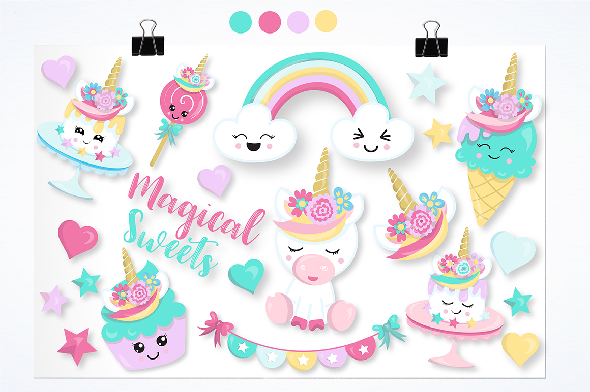Unicorn sweets graphics and illustrations example image 2
