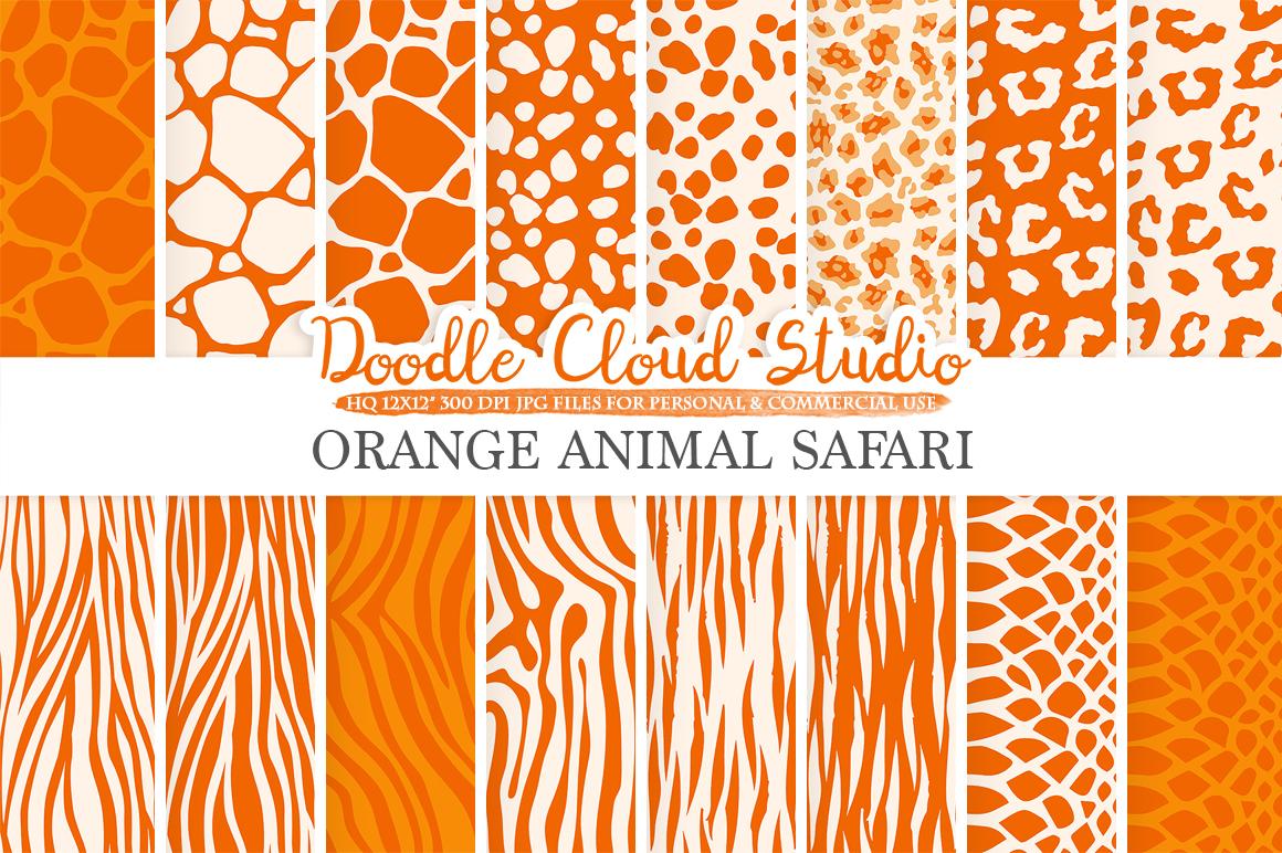 Orange Animal Safari digital paper, Fur pattern, Giraffe Zebra Leopard Snake Tiger backgrounds, Instant Download, Personal & Commercial Use example image 2