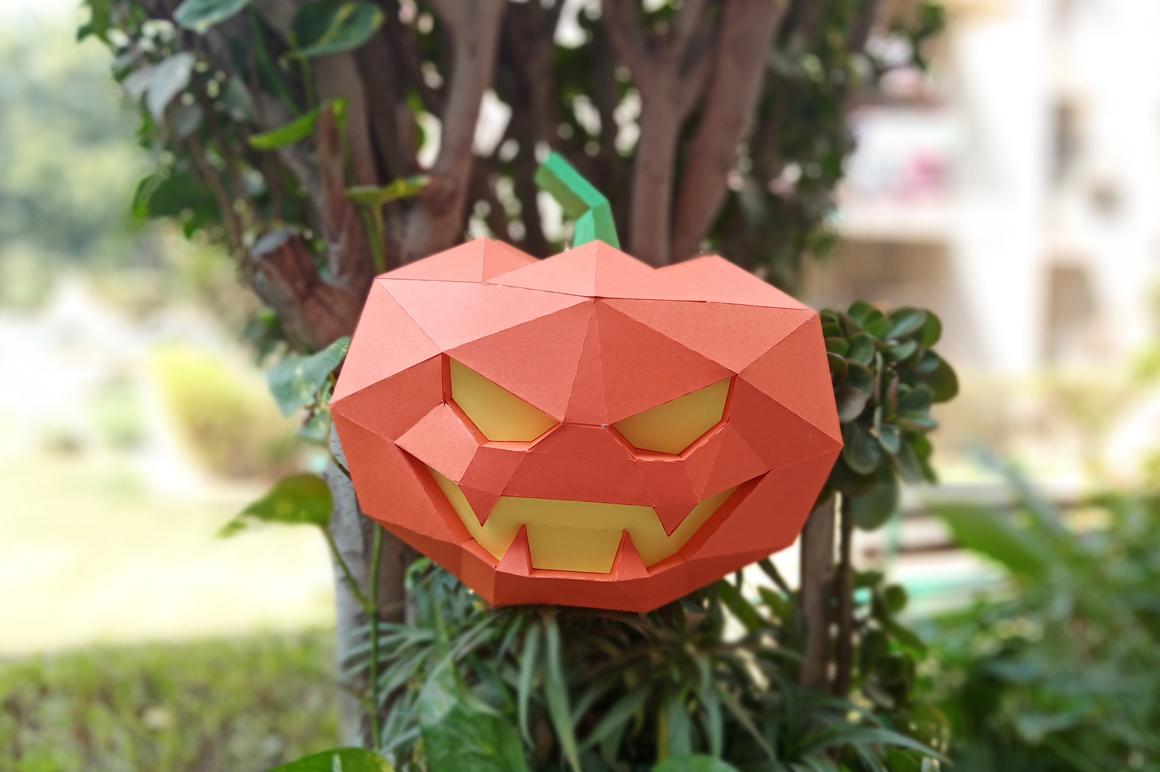 DIY Halloween Pumpkin lamp - 3d papercraft example image 2
