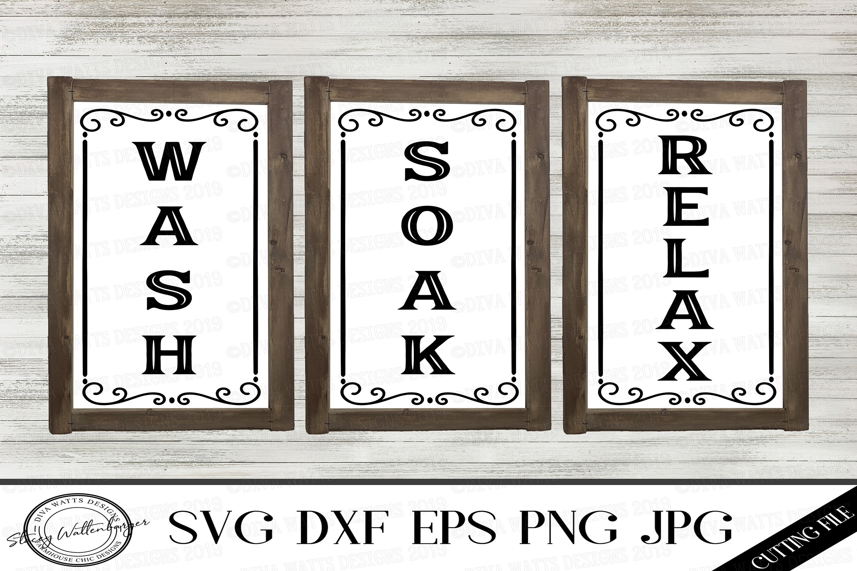 Wash Relax Soak Cutting Files for Bathroom Wall Decor example image 1