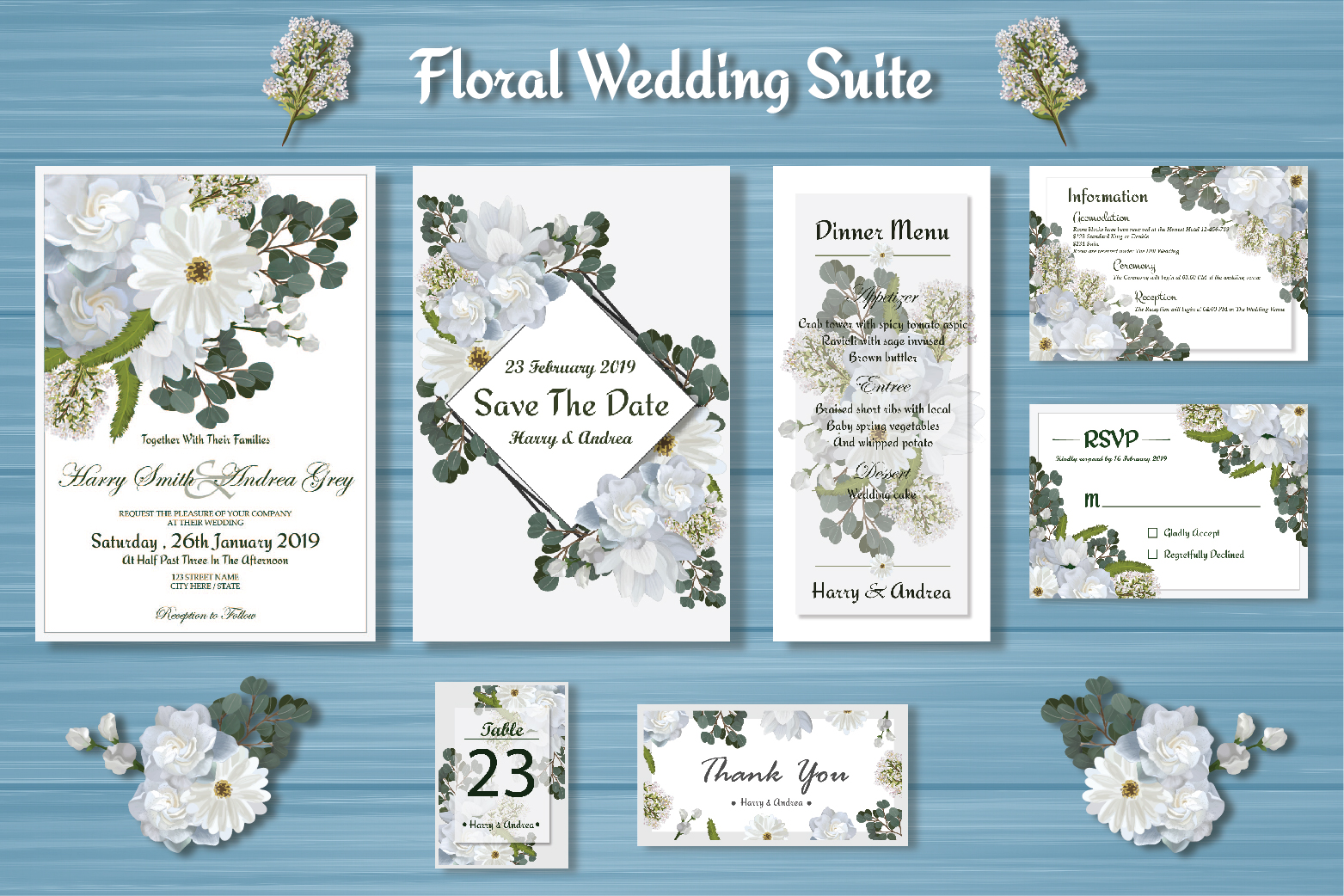 White Floral Wedding Invitation Suite example image 1