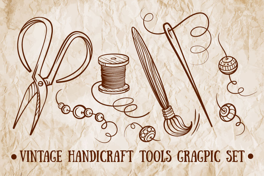 Vintage handicraft tools graphic set example image 1