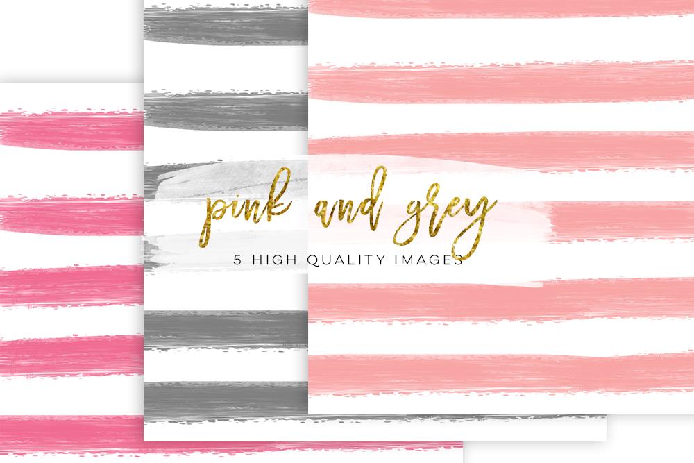 striped paper, pink and grey paper, pink grey digital paper, textures digital, watercolour digital pink stripe digital paper scrapbooking example image 2