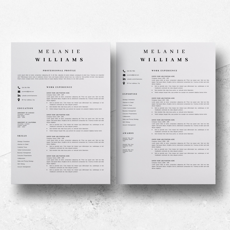 Resume Template Minimalist   CV Template Word - Melanie example image 6