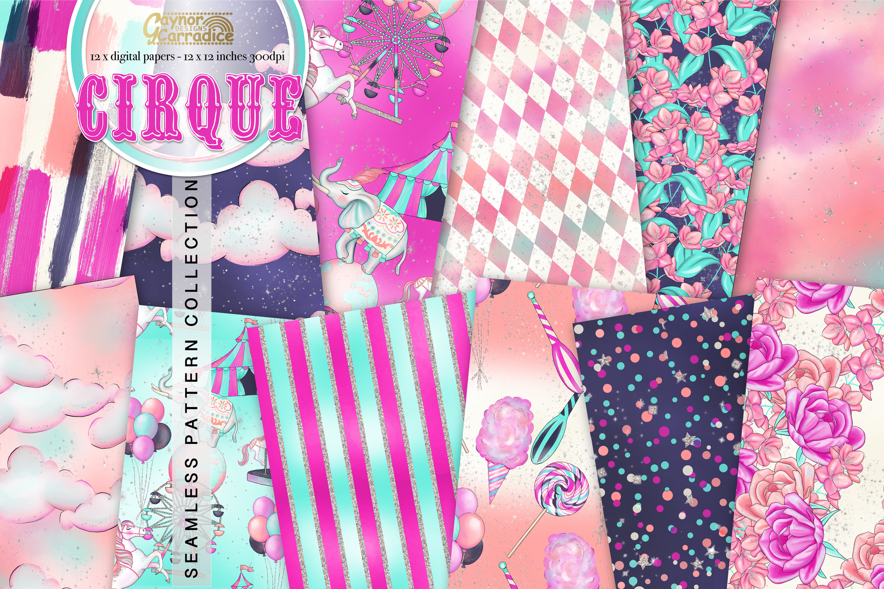 Cirque - Circus Seamless Pattern collection example image 1