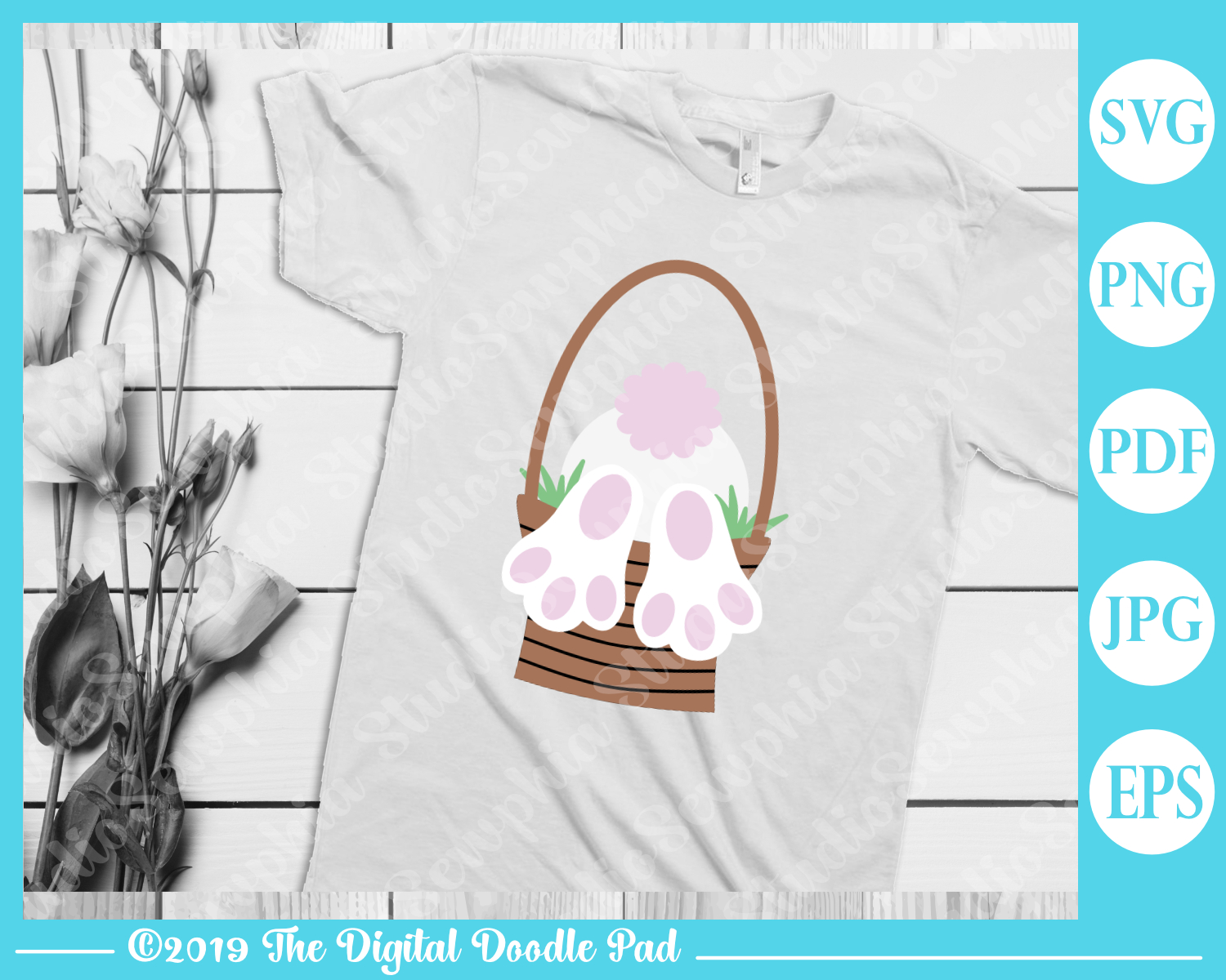 Easter Bunny Butt SVG example image 2