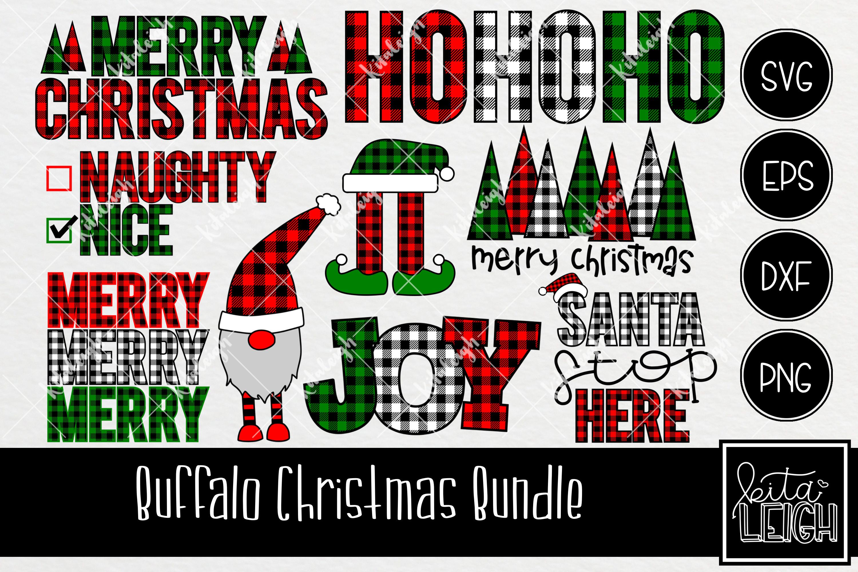 Buffalo Plaid Christmas Bundle SVG example image 1