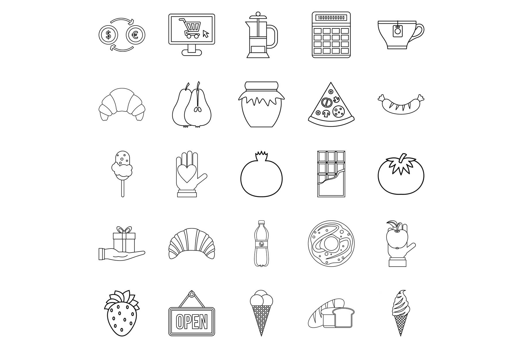 Hash house icons set, outline style example image 1