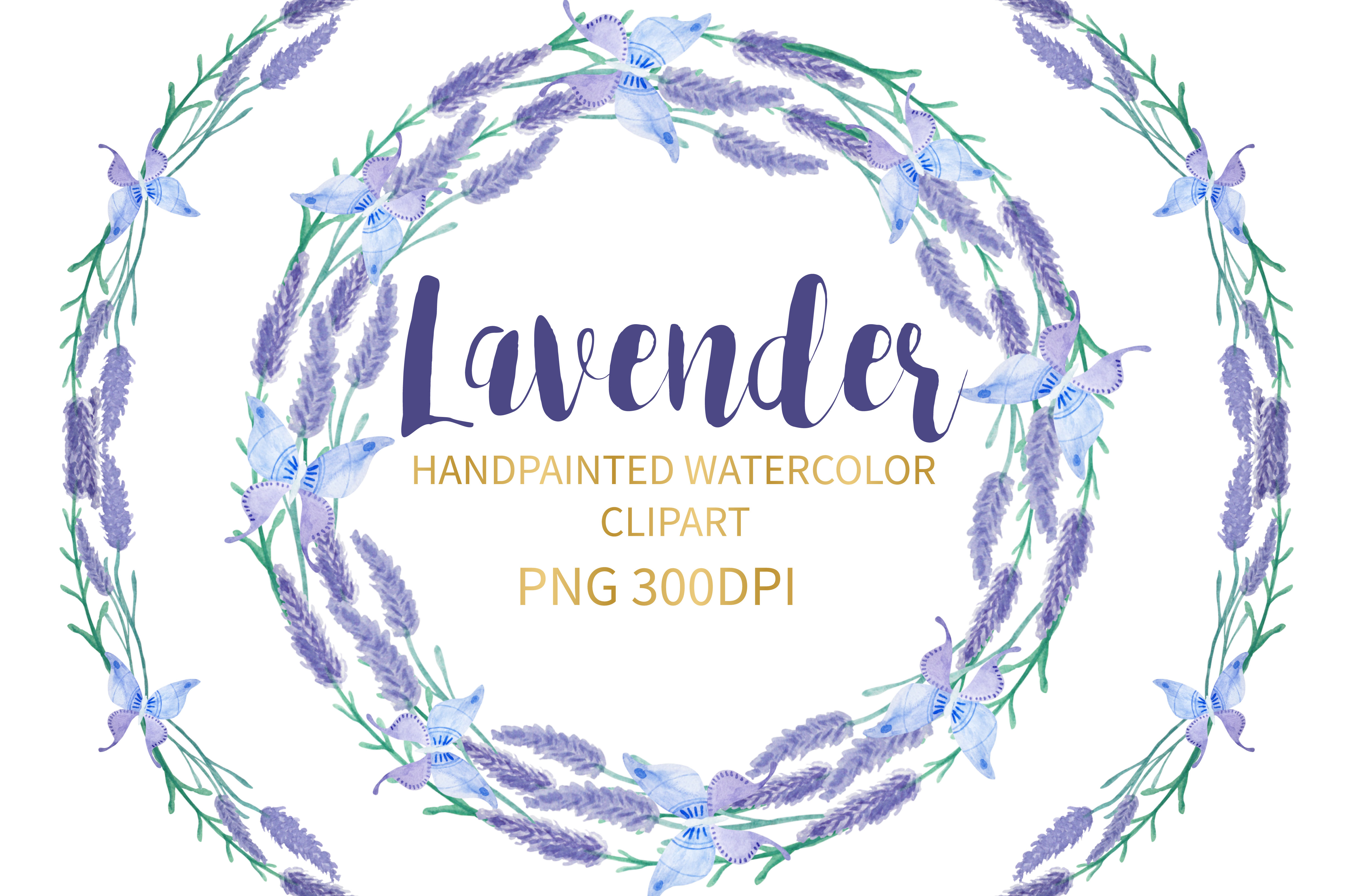 Lavender Watercolor Clipart example image 1