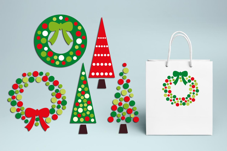 Christmas Wreath and Tree Polka Dot example image 3