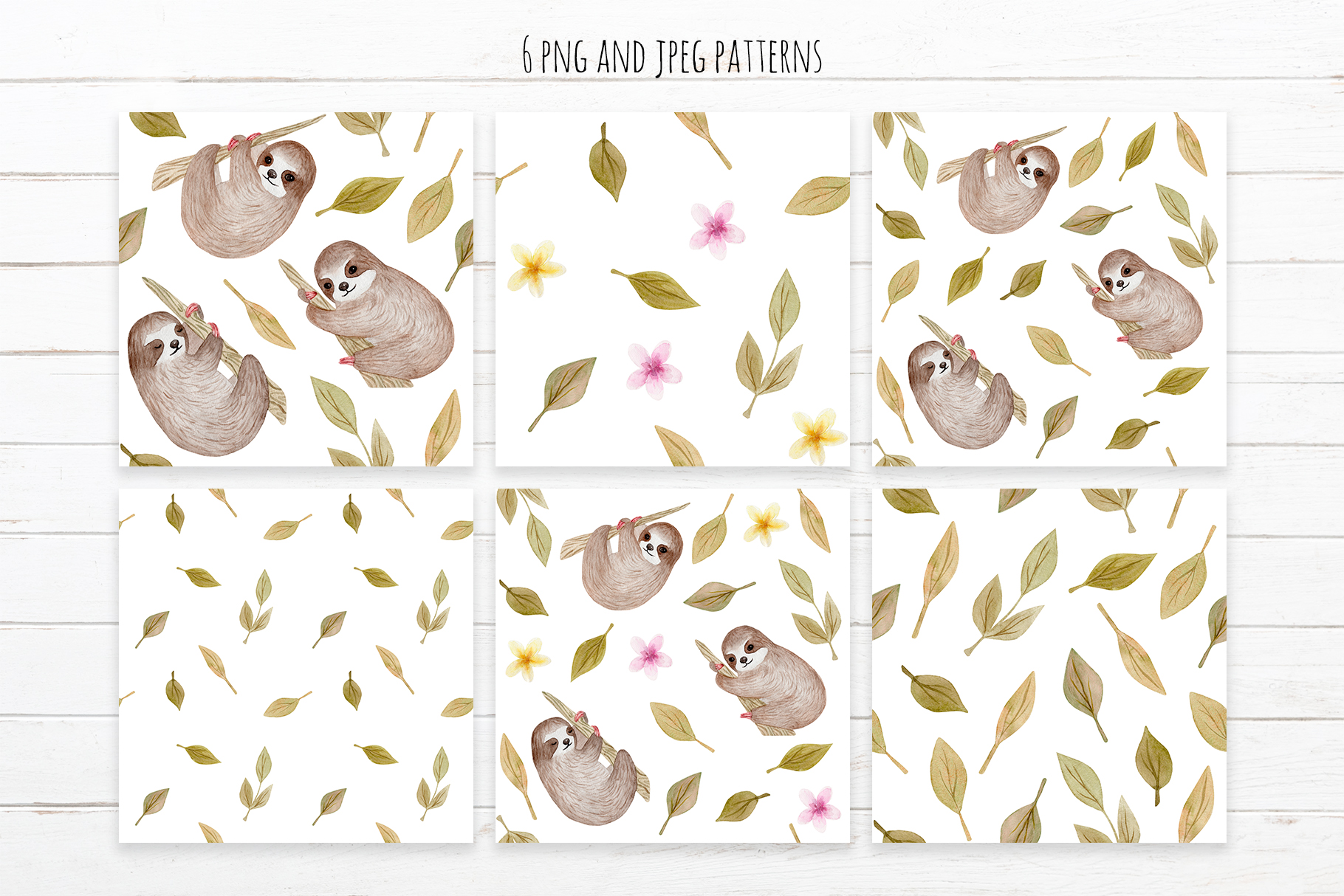 Cute Sloth. Watercolor Patterns example image 3