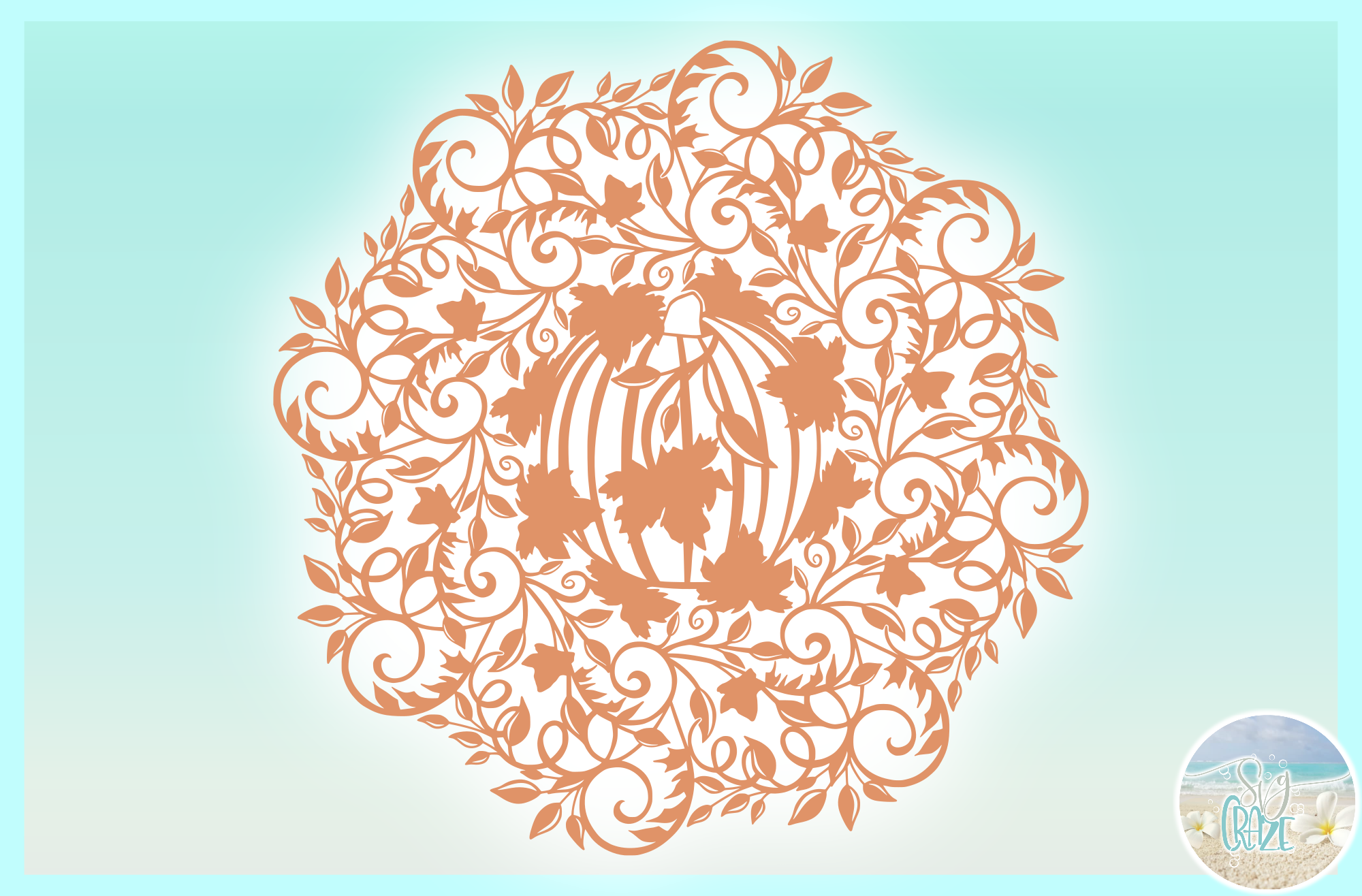 Fall Pumpkin with Vine and Leaves Mandala Zentangle SVG example image 3
