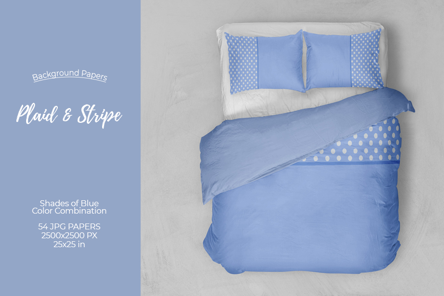 54 Plaid,Stripe & Dots on Blue Shades JPG Background Papers example image 3
