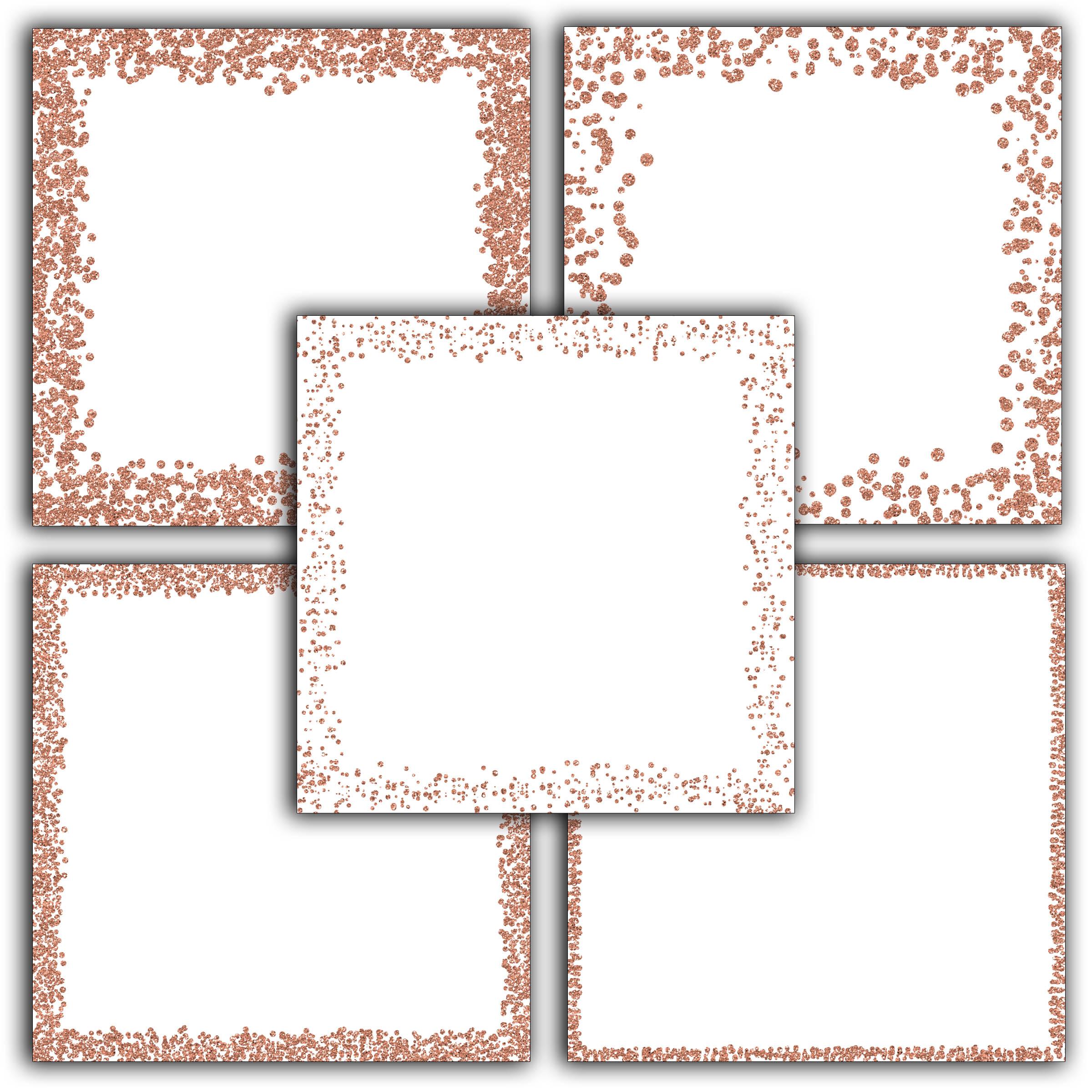 Rose Gold Glitter Borders Digital Paper example image 3
