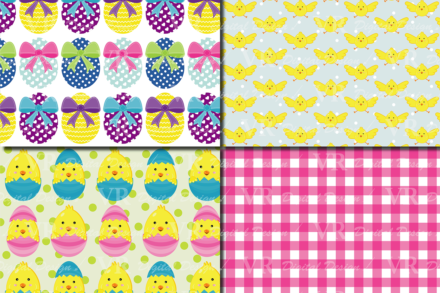 Bright Easter Digital Paper / Happy Easter chick and eggs backgrounds / Easter pattern / Scrapbooking paper example image 5