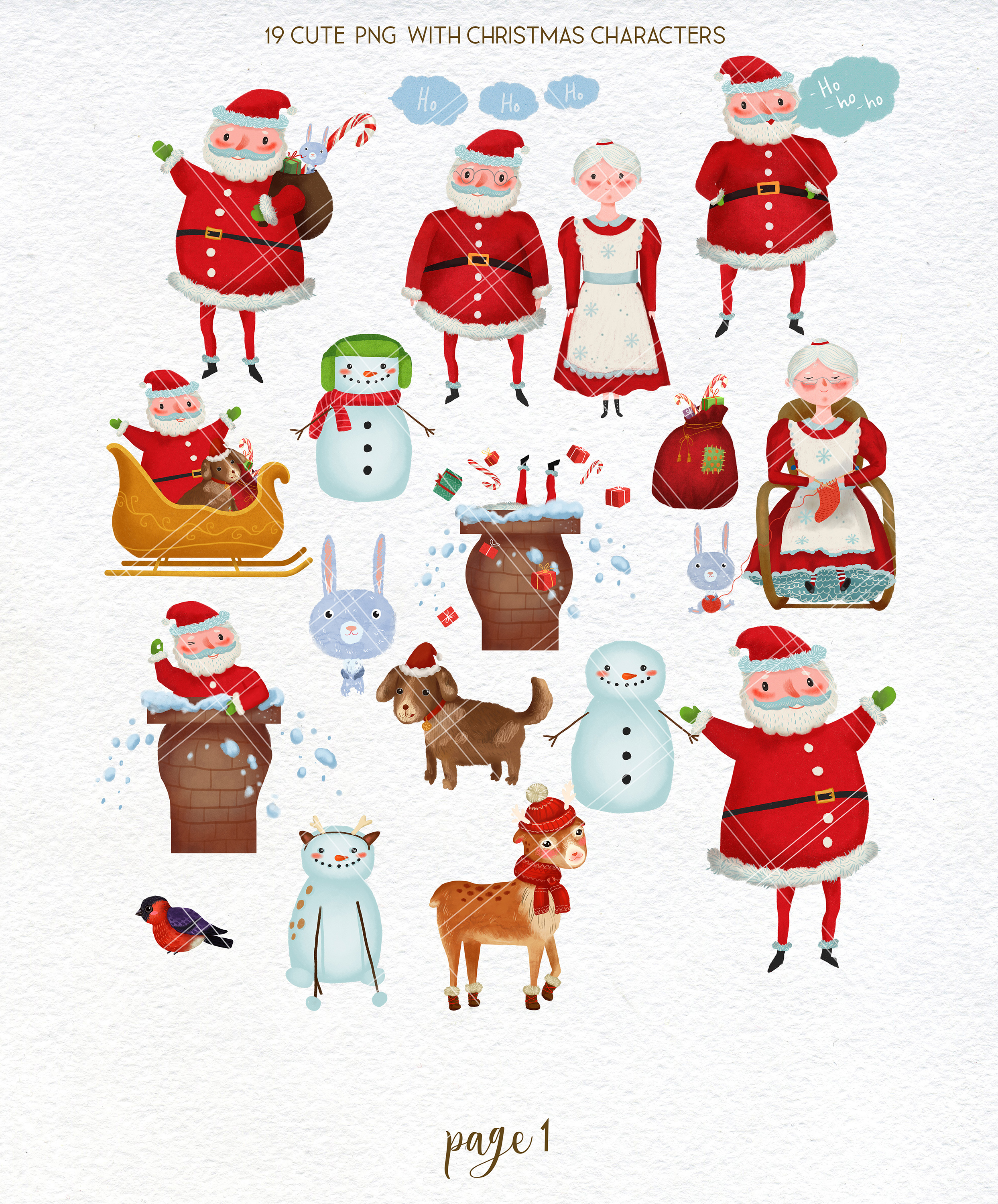 Merry Christmas clipart pack with Santa and digital paper example image 2
